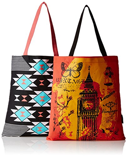 Kanvas Katha Women's Combo Tote Bag (Multi-Colour) (KKBSAMZAUG002-KKBSAMZAUG008)