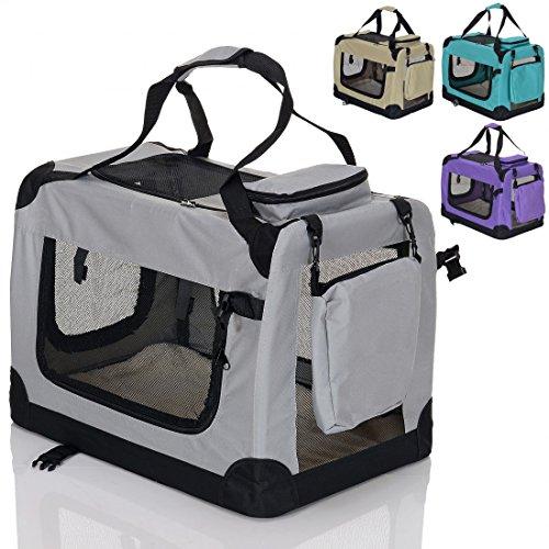faltbare Hundebox Haustier Transportbox klappbare Autobox 70x52x52 cm gepolstert Katzen Henkel Tragetasche Grau