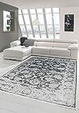 Merinos Vintage Teppich modern Wohnzimmerteppich Designteppich mit Fransen in Grau Größe 80x150 cm
