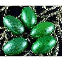 Verde Perle di Vetro ceco in Tubo Ovale di Grandi dimensioni di Oliva Perline 18mm x 12mm 2pcs