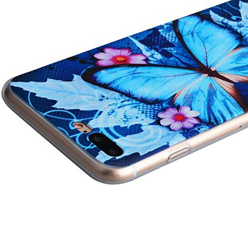 HB-Int 3 in 1 Cover per iPhone 6 / iPhone 6S (4.7 pollici) Custodia TPU Silicone Cassa Gomma Soft Silicone Case Bumper Custodia Morbida Cover Pattern Chiaro Shell Custodia Ultra Sottile Leggero Flessi Farfalla Fiori