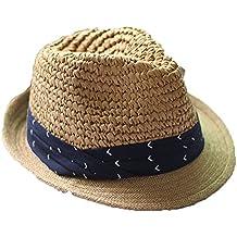 Mujeres Chicas Modernos Verano Afuera Raya Azul Sombreros Fedora Gorra Paja  Sol 748e8bfedf8