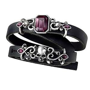 Official Alchemy Gothic Pirate Princess Leather Strap Bracelet - Swarovski Amethyst Purple