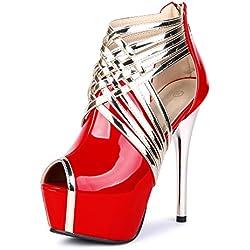 OCHENTA Zapatillas de Moda Atractiva Sandalias Cabeza de Pescado Mujer PU Rojo Asiático 43 - EU 42