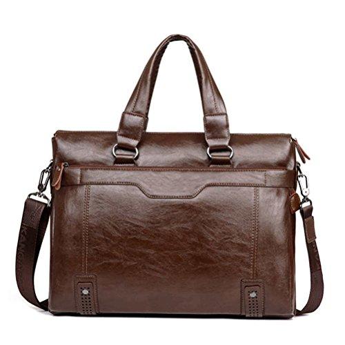 Männer Geschäft Schulter leder Aktentasche Messenger Bags 14 Zoll Laptop Messenger Bag Men's Travel Crossbody Taschen Handtaschen (Bag Laptop-messenger Kipling)