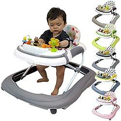Monsieur Bébé ® Andador para bebé evolutivo musical, plegable y regulable en altura - Seis colores - Norma NF EN 1273