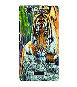 Fuson 3D Printed Tiger Designer Back Case Cover for Micromax Canvas Nitro 2 E311 - D660