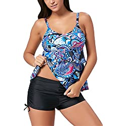 ALICECOCO Damen Sport Yoga Fitness 2-Teilig Tankini mit Shorts Strand Bikini Set mit Top (EU 40-42 (XL), 3Blue)