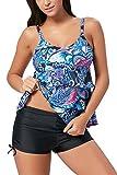 ALICECOCO Damen Sport Yoga Fitness 2-Teilig Tankini mit Shorts Strand Bikini Set mit Top (EU 40-42 (XL),3Blue)