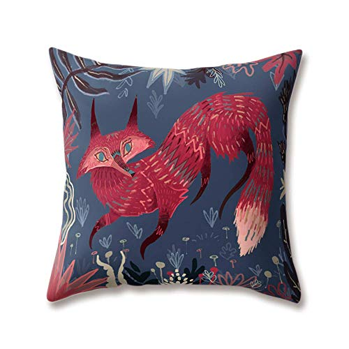 "DHNKW Soft Plush Zoo Cushion Covers Creative Animal Fox Wolf Ukulele Music Cock Monkey Printing Throw Soft Plush Pillow Cases for Home Sofa Bed Decorative(16"" X 16"" inches)"