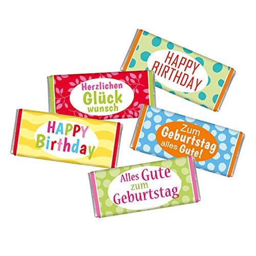 5 mal Mini Schokolade GEBURTSTAG STEINBECK Vollmilch Schokolade Tafel 5er Set Geschenk Herzlichen Glückwunsch süß Mitgebsel Happy Birthday