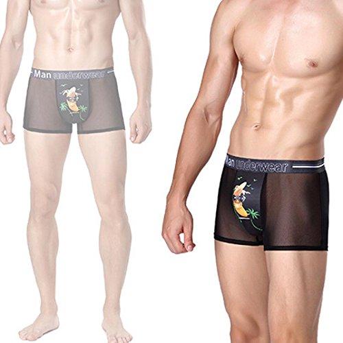 Sansee Mens Print Shorts Boxer Unterhosen, Mode Unterwäsche (XL(L), WS09 Schwarz) (Spandex Shorts Print)