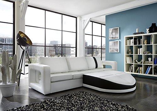 SAM® Sofa Garnitur weiß Doccia schwarzer Streifen 270 x 200 cm rechts designed by Ricardo Paolo futuristisch Wohnzimmer Sofa Landschaft Federkernpolsterung pflegeleichte Oberfläche