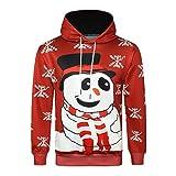 Männer Weihnachten Hoodies Mann männlich Herbst Winter 3D Print Langarm mit Kapuze Schneemann Schnee Print Warm Sweatershirt Top Pullover Moonuy