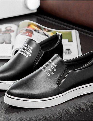 Shangyi Gyht Chaussures Femme-mocassins-loisirs / Décontracté-confortable / Pointu-flat-faux Cuir-noir / Blanc / Doré Noir
