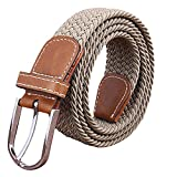 Sanwood Unisex Canvas Plain Metal Buckle Waist Belt Strap (Khaki)