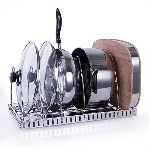 Lifewit Deckelhalter Topfdeckelhalter Pfannenhalter Deckel Halterung Topfhalter Abtropfschale Abtropfgestell Küchenregal aus Edelstahl