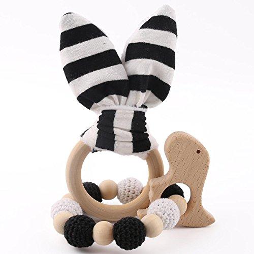 baby tete Baby Teether Toy Dentition pour bébés Baby Rattle Safe Anneau en bois Bagues en bois en dents de bébé Bunny Ear 1set / 2pc Sensory Baby Gym Toy