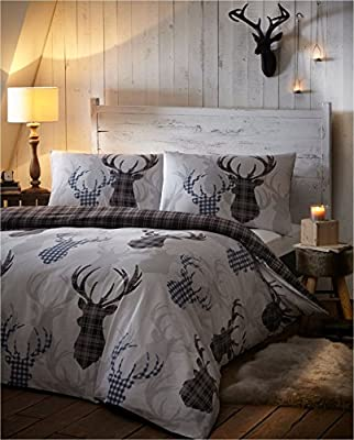 Tartan Check Stag Super King Size Quilt Duvet Cover & 2 Pillowcase Grey Bedding Set by Homespace Direct - inexpensive UK light shop.