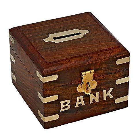 RoyaltyRoute Incrustation de cuivre à la main en bois coffre argent boîtes tirelire boîte argent banque