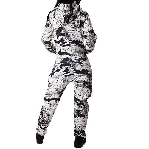 Crazy Age Damen Jumpsuit Camouflage Warm, Weich und Kuschelig Overall Onesie Jogging - Freizeit Anzug CA 2850 - 2