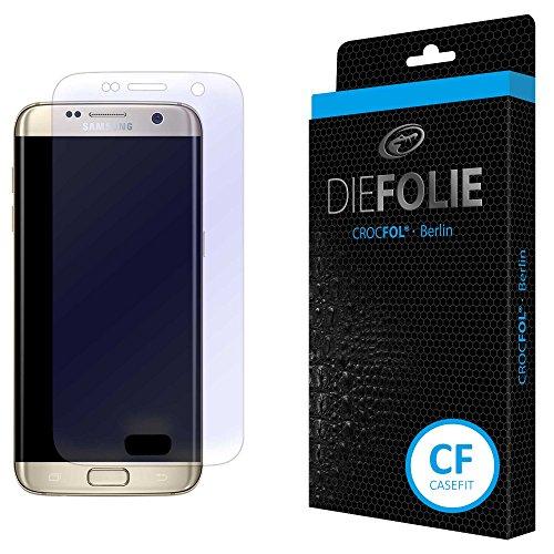 Crocfol Displayschutz für Samsung Galaxy S7 Edge: 2x DIEFOLIE Schutzfolie, 1x DASFLÜSSIGGLAS flüssiges Glas - Casefit Folie, Verwendung mit Schutzhülle -