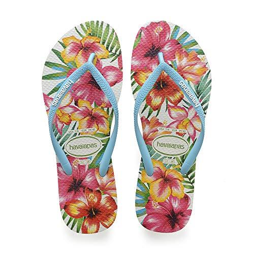 Havaianas Damen Slim Hibisco Zehentrenner, Mehrfarbig (White), 39/40 EU (37/38 BR)