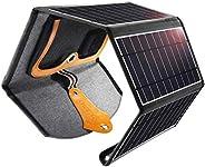 شاحن شوتيك بالطاقة الشمسية، شاحن محمول 22W مع منافذ USB مزدوجة مضادة للماء ومتوافق مع هاتف Apple iPhone iPad و