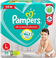 Pampers All round Protection Pants, Large size baby diapers (LG), 64 Count, Anti Rash diapers, Lotion with Alo