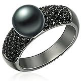 Valero Pearls Damen-Ring 925 Silber rhodiniert Zirkonia Perle Süßwasser-Zuchtperle Schwarz Gr. 54 (17.2) - 609250203