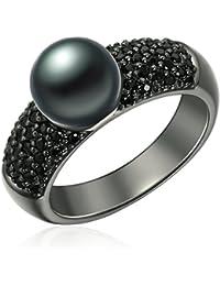 Valero Pearls - Bague - Argent sterling 925 (dorée noirci) - Bijoux de perles oxyde de zirconium - Bijoux pour femmes - En plusieurs tailles, bague oxyde de zirconium - 60925020
