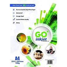 100 hojas de papel fotográfico + 5 hojas adicionales A4 180 gsm, papel brillante, blanco, resistente al agua, compatible con impresoras de inyección e impresoras fotográficas) GO Inkjet