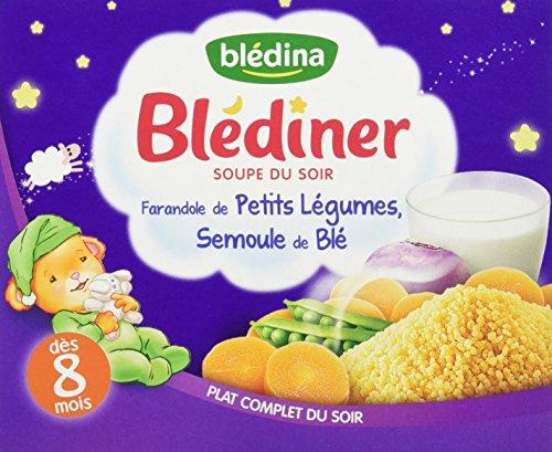 Blédina Blédîner Soupe du Soir Farandole de Petits Légumes et Semoule de blé dès 8 mois 2 x 250 ml
