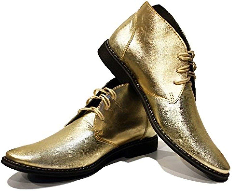 Modello Goldeno   Handgemachtes Italienisch Leder Herren Gold Stiefeletten Chukka Stiefel   Ziegenleder Weiches