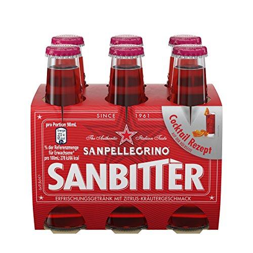 Pack Soda-24 (Sanpellegrino Sanbittèr Alkoholfreier Aperitif, aus Italien, bittersüß-herbes Aroma, aus Zitrusfrüchten und feinen Alpenkräutern, für Mixgetränke und Cocktails geeignet, 24er Pack (24 x 98ml))