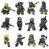 Mini Figuren Set-12 Stück Armee Minifiguren SWAT Team mit Militärwaffen Zubehör, Gebäude Bricks of Polizist Soldat, Building Blocks Kinder pädagogisches Spielzeug-Geschenk Lego kompatibel (12 minifiguren toys)