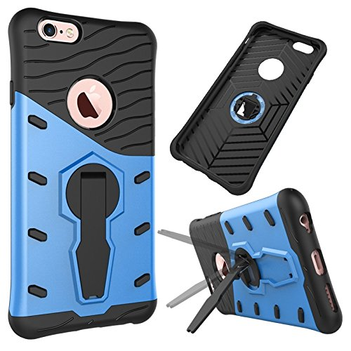 iPhone Case Cover 2 en 1 New Armour Tough Style hybride à double couche d'armure Defender PC dur cas avec support étui à l'épreuve du choc pour iPhone 6 6s ( Color : Blue , Size : Iphone 6 6s ) Blue
