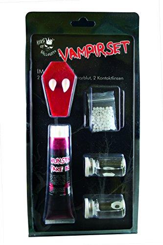 Vampirset, KOMPLETT, Blut,Halloween Kontaktlinsen Weiß, Eckzähne, Halloween, Vampir Make up set/Vampirschminke set, Halloween Make up/Halloween Schminke, Zombie, Dämon