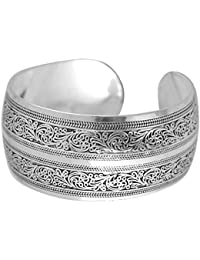 BODYA Unisex Tibeten Silver Carved spiral flower Connecting Branches Pattern wide band Open Cuff Bracelet Bangle adjustable