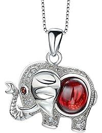 Chaomingzhen 925 Sterling Silber Rhodiniert Zirkonia Roter Kristall Niedliche Elefant Anhänger Halsketten Damen mit Kette