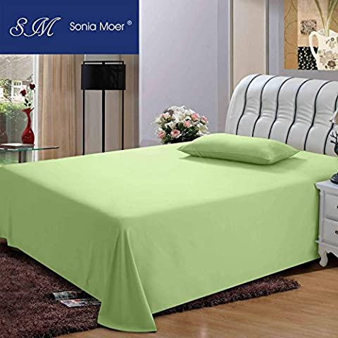 Premium Polycotton 200 Thread Count Flat Sheet by Sonia Moer, (Double, Green)