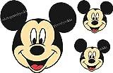 Essbarer Tortenaufleger / Topper,  1 großes und 2 kleinere Micky-Maus-Gesichter, ungeschnitten, aus Zuckerguss