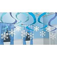 15x Winter Wonderland Ice Snow Cold Blue Hanging Swirl Ice Snow Snowflake Birthday Xmas Christmas Party Decoration