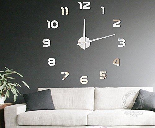 Uhr elektronische wecker Mode DIY Große 3D Anzahl Spiegel Wandaufkleber Große Uhr Wohnkultur Kunst...