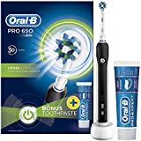Oral-B Pro 650 Black Cross Action Electric Rechargeable Toothbrush and Toothpaste