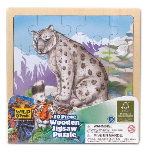 Preisvergleich Produktbild Wild Republic FSC-88025 - Holz-Puzzle, FSC Mischholz , 20 Teile, Motiv Schnee Leopard