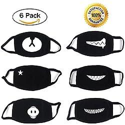 6 Piezas Algodón Máscaras, Bicicleta Máscara, Protección Contra el Polvo Mask, Suave Kawaii Cálido Máscara De Proacc (Negro)
