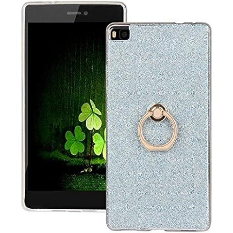 Funda Huawei P8 con Soporte de Anillo,ZXK CO Carcasa TPU de Silicona Gel para Huawei P8 Tapa Trasera Diseño Piel Con Soporte de Anillo Anti-Caídas Amortigua los Golpes Caso Case Cover-Azul