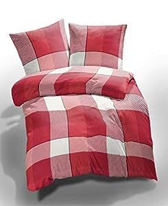 2 tlg. etérea Microfaser Seersucker Bettwäsche Lola Karo Kariert Rot Weiß, 135x200 cm + 80x80 cm