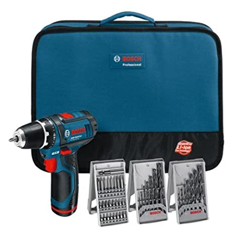 Bosch GSR 10.8-2-LI Cordless Screwdriver with 2x 1.3 Ah Batteries and Set of 3 Accessories and Soft Bag
